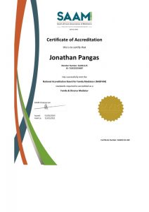 SAAM Certificate of Accreditation Jonathan Pangas from Just-Mediation